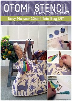 Otomi Tote Bag DIY via Paint + Pattern | Otomi Stencil from Royal Design Studio