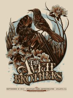 concerts, ken taylor, artists, the avett brothers, gig poster, atlanta, concert posters, illustr, taylors