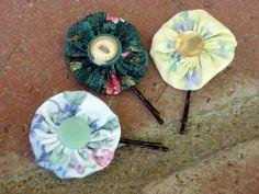 Vintage Yo Yo Hair Clip Bobby Pins - Floral