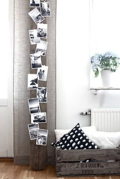 Photo Display Idea...also a great idea for Christmas cards, wedding cards, birthday cards...etc photo boards, interior, display photos, photo displays, picture boards, black white, plank, crate, railroad ties