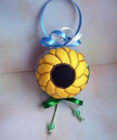 Sunflower Kimekomi Christmas Ornament by OrnamentDesigns on Etsy