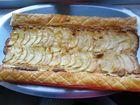 Banda de manzana y crema de almendras