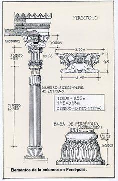 Columnas de Persépolis. Los capiteles se configuraron mediante una pieza superior compuesta por 2 medios cuerpos de animales unidos: toros, hombres-toro o grifos. Estos podían apoyar directamente sobre el fuste o tener unas piezas con volutas, cuyo antecedente era la arquitectura helena. Bajo estas piezas existían una formas vegetales, como el loto o el papiro de influencia egipcia de época Ptolemaica.