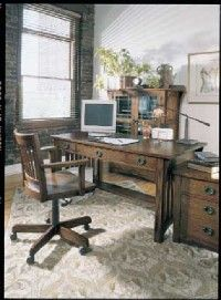 Traditional Home Office Mission-style furniture implies a straightforward, businesslike approach in this home office.