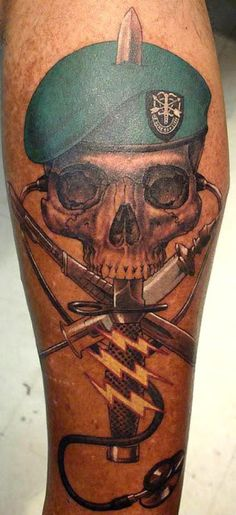 This is actually MY OWN tattoo. It commemorates my time as a Special Forces Medical Sergeant. For more info on what each and every detail means, just click on the tat. It was done by Brian of Body Rites Tattoos in Five Points, Columbia, SC. Wish I had better skin to show it off better.