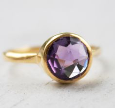 Must. Have.   Gold Purple Amethyst Ring Gemstone Ring Stackable ring by OhKuol