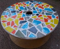 DIY mosaic tile cable spool table