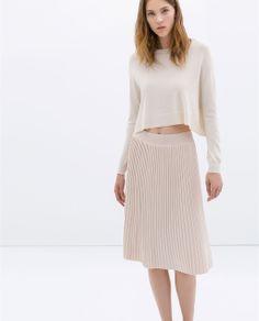 KNEE-LENGTH FINE PLEAT SKIRT from Zara