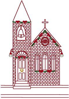 Redwork Village Church at Christmas