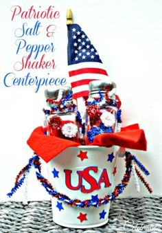 DIY Easy Patriotic Salt & Pepper Shaker Centerpiece - an easy, fun project and something great for Mom and kids to do together!