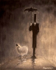 A Gentleman And His Sheep In the Rain by Todd Sullivan