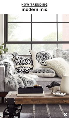 Easiest way to give your space a fresh look for fall? Throw pillows???and lots of them! The clean look of black and white gets an upgrade with a modern mix of textures and materials, like embroidery details and faux fur. Stick to the color scheme with additional decor, but add interest with details like fringe and tassels. The result? The perfect combo of polished and eclectic.