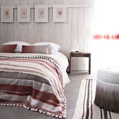 Grey and pink bedroom scheme