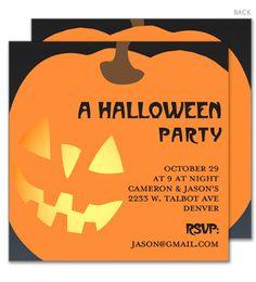 Jack-O-Lantern Pumpkin Invitations