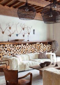interior, living rooms, antler, wood storage, rustic chic