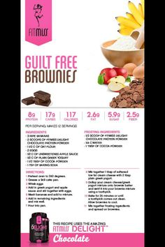Guilt Free Protein Brownies | Fitmiss change it up a bit to make it low carb my next project