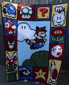 Mario Quilt Design FREE Pattern. - via @Craftsy
