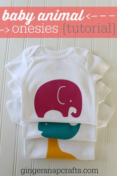 Baby Animal Onesies Heat Transfer Tutorial at GingerSnapCrafts.com #SilhouetteCAMEO #SilhouettePortrait #BabyGiftIdea