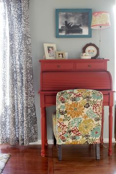 Red roll-top desk. From the Living With Kids Home Tour featuring Lesli Gresholdt.