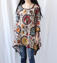 Leisure asymmetrical dress Women gown Women blouse Long by MaLieb, $89.00. Gorgeous print