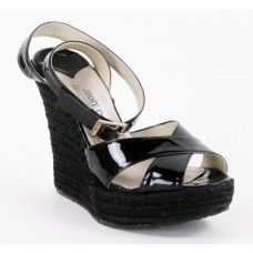 I just can't stand it.  Love these. Jimmy Choo Black Patent Leather Paisley Espadrille Wedges.