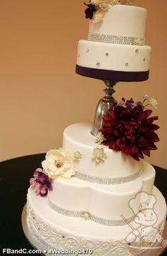 rhineston, crystal band, wedding cakes, fresh flower