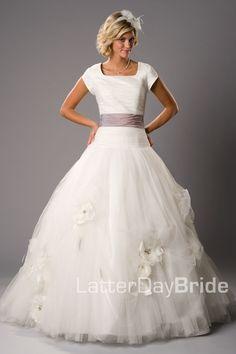 Modest Wedding Dress, Rosabella   LatterDayBride & Prom. Modest Mormon LDS Temple Dress