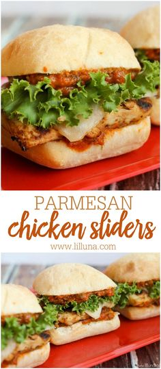 "Delicious Chicken Parmesan Sliders { <a href=""http://lilluna.com"" rel=""nofollow"" target=""_blank"">lilluna.com</a> } Chibata buns filled with grilled chicken, provolone cheese, lettuce, and marinara sauce!"