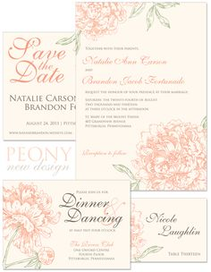 Peony Invitation, Accessory, Save the Date, and Place Card