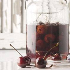 Homemade Maraschino Cherries in Maraschino Liqueur