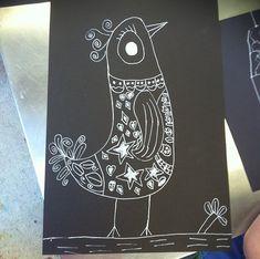 contrast drawing lesson |  small hands big art    white pens on black paper white pen, black paper, oil pastel