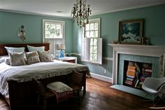 Robin's egg blue bedroom. LOVE this color!
