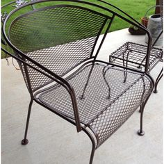 A fresh coat of rust preventative paint gives new life to old metal patio furniture
