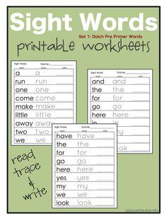 Site Word Printables