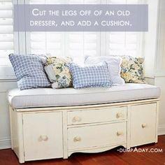 Amazing Easy DIY Home Decor Ideas- old dresser seat