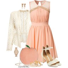 """""""Peach dress"""" by julyjess on Polyvore"""