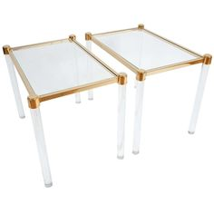 Pair Of Lucite & Brass Side Tables Attributed To Pierre Vandel | From a unique collection of antique and modern side tables at http://www.1stdibs.com/furniture/tables/side-tables/