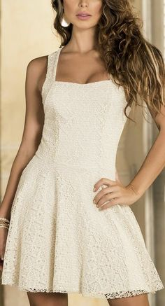 Creme Shimmer Lace Dress