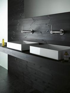 Glamorous Bath Accessories Applied in Natural Themed Bathroom : Darkwood Bathroom Backsplash Floating Vanity Bath Fittings Accessories