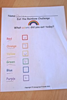 Eat The Rainbow Challenge from Homegrown Friends