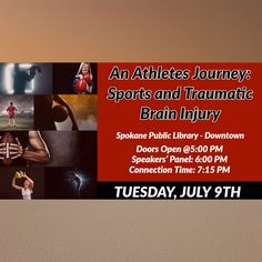 "Spokane,WA (save the date): Our BEST friends at the Northwest Brain Injury Symposium @nwbis present, ""An Athlete's Journey,: Sports and Traumatic Brain Injury"" 7/9/19. (FREE). Details in the link ow.ly/bH4730ovRKZ #TBITalk #TBI #braininjuryawareness #PCS #concussion #sports"