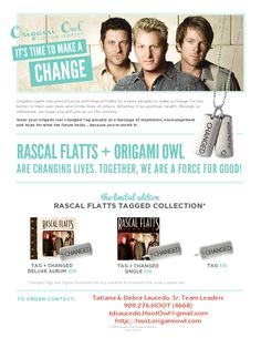 Do you like the Rascal Flatts?  Starting February 26th!! Limited time promotion, do NOT miss out!! Origami Owl & Rascal Flatts have teamed up...