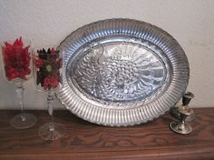 Faux mercury glass vintage turkey platter