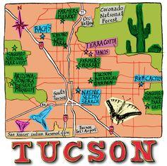 Tucson Map, AZ by Michael A. Hill