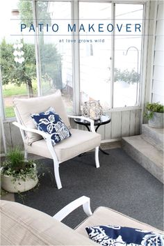Simple and inexpensive decor ideas to create a cozy and inviting outdoor living space! at LoveGrowsWild.com