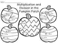 Halloween Multiplication Coloring Worksheets printable