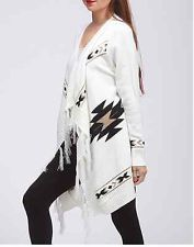 WINTER New White Tribal Aztec Print Indian Fringe Ramie Cardigan Sweater ~ S M L