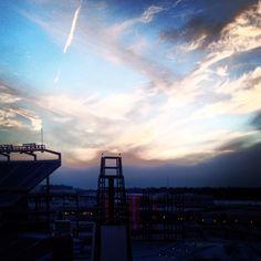 Winter sunset above Gillette Stadium.