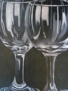 Wine Glasses. Acrylic Painting