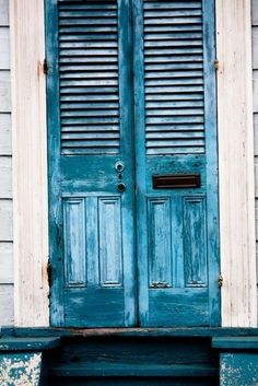 blue doors in the French Quarter